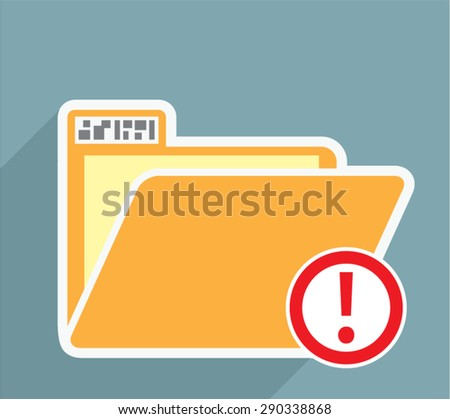 Folder Alert Unknown Attention Vector Icon - stock vector