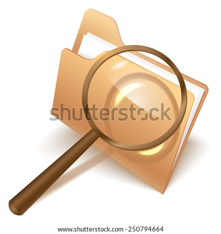 Folder and magnifer icon - stock vector