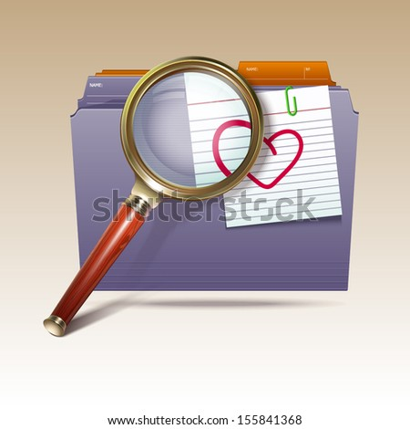 Folder and magnifying glass. Sear?h icon - stock vector