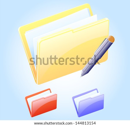 Folder and Pen vector icon