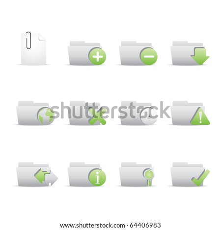 Folder Applications icon set 9 - Bi Colored Series (Green and Gray). Vector eps 8 format, easy to edit. - stock vector