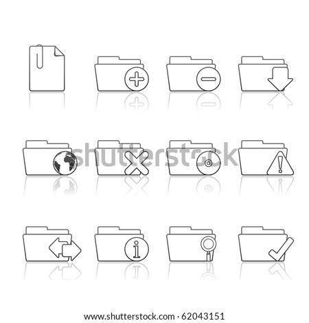 Folder Applications icon set 9 - Strokes Series.  Vector eps 8 format, easy to edit. - stock vector