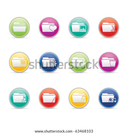Folder Applications II icon set 10 - Colored Buttons Series.  Vector EPS 8 format, easy to edit. - stock vector