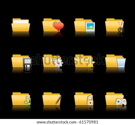Folder Applications II icon set 10 - Glossy Series.  Vector EPS 8 format, easy to edit. - stock vector