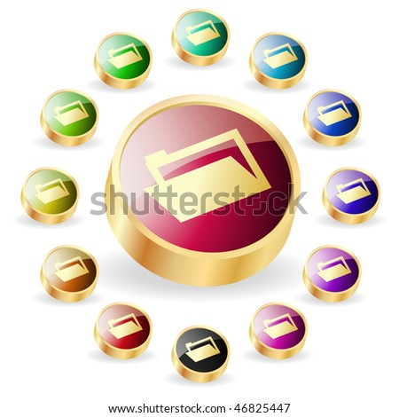 Folder buttons. Vector set. - stock vector