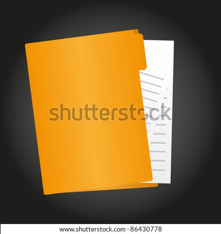 folder cartoon with paper isolated over black background. vector