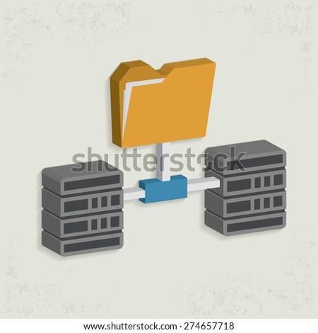 Folder,connection,database server design,clean vector - stock vector
