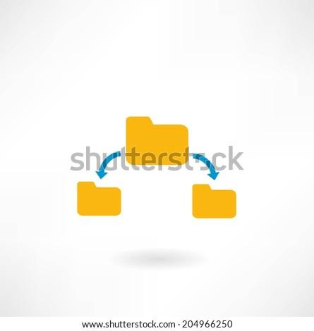 folder icon and arrow - stock vector