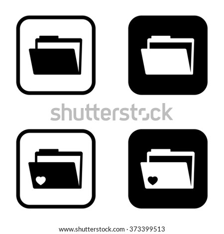 Folder icon and folder icon with heart symbol set . Vector illustration