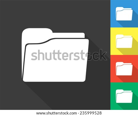 folder icon - gray and colored (blue, yellow, red, green) vector illustration with long shadow - stock vector