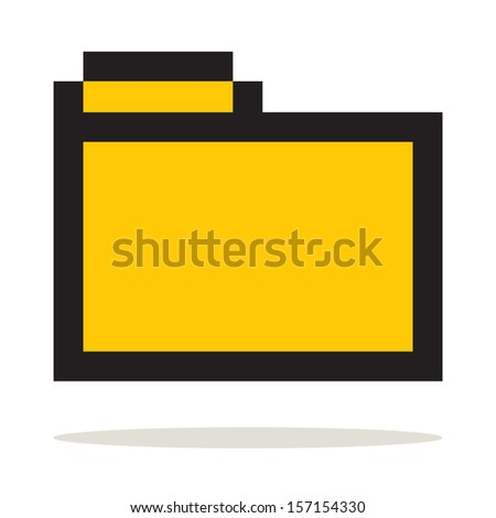 Folder icon Set pixel art style. Isolated on white background. Folder icon in a stylish white background. - stock vector