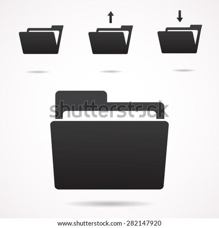 Folder icon set. Vector art. - stock vector