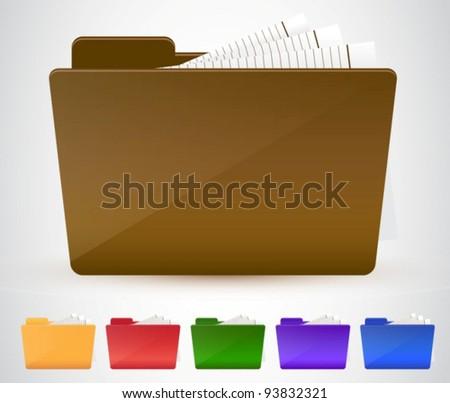 Folder icon set. Vector illustration - stock vector