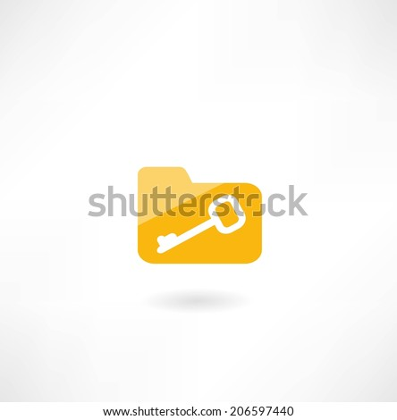 folder icon with a key - stock vector