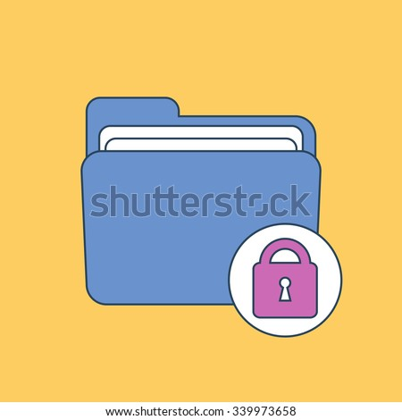 Folder icon with lock. Vector illustration - stock vector