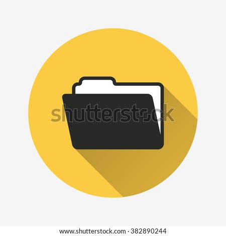 Folder  icon with long shadow, flat design. Vector illustration. - stock vector