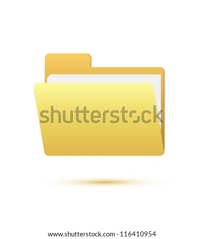 Folder icon with paper on white - stock vector