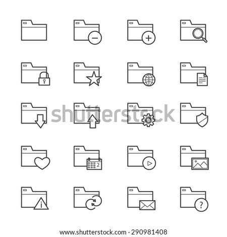 Folder Icons Line - stock vector