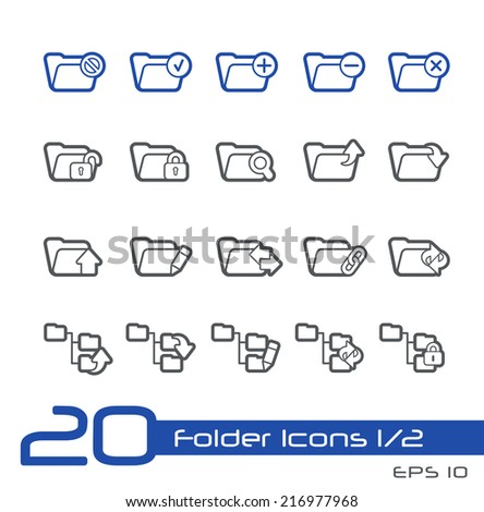 Folder Icons - 1 of 2 // Line Series - stock vector