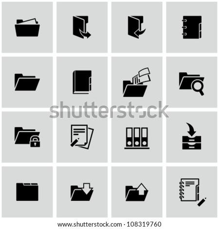 Folder icons set - stock vector
