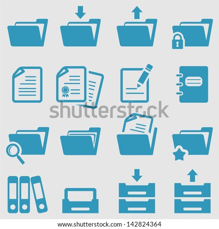 Folder icons set.Vector - stock vector