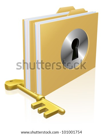 Folder or file with a keyhole locked with a key. Concept for privacy or data protection, or secure data storage etc. - stock vector