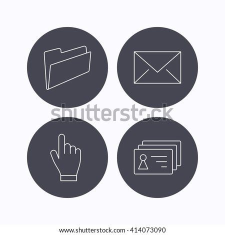 Folder, press hand and contacts icons. Mail linear sign. Flat icons in circle buttons on white background. Vector - stock vector