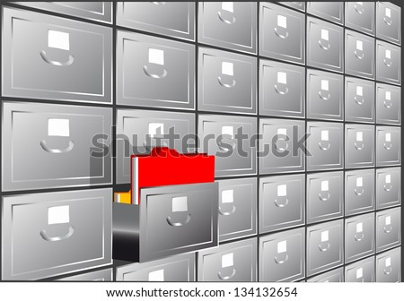 folder search. file cabinet with half-open drawers containing - stock vector