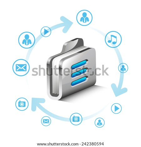 folder storage server with icons  - stock vector
