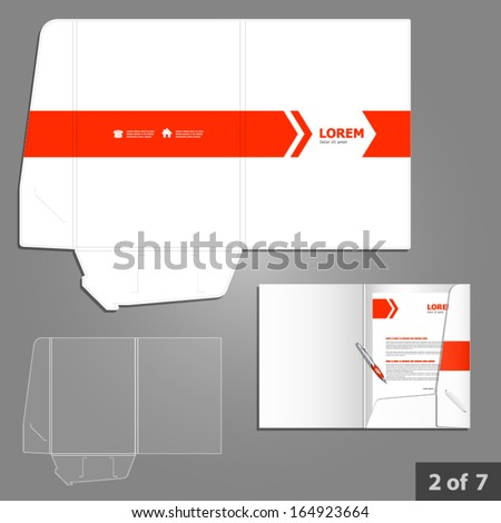 Folder template design for company with red arrows. Element of stationery. - stock vector