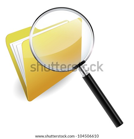 Folder under a magnifying glass - stock vector