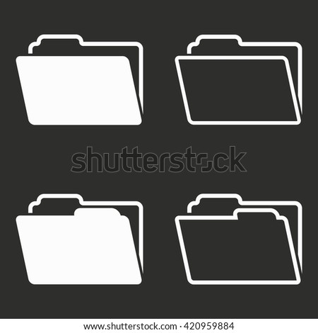 Folder   vector icon. White illustration isolated on black background for graphic and web design. - stock vector