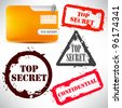 "Folder with documents stamped ""Top Secret"" - stock vector"