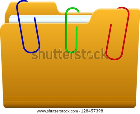folder with paperclip - stock vector