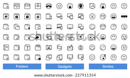 folders, gadgets and smiley face icons - stock vector