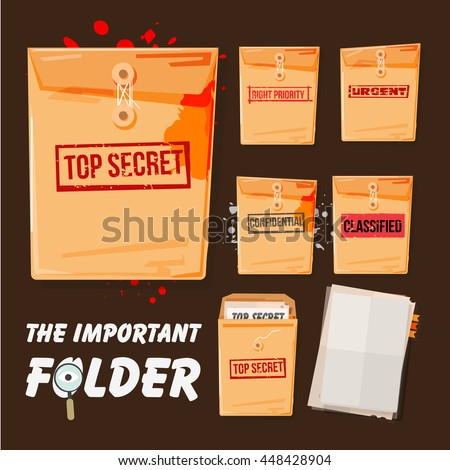 folders set with different stamp text come with blank document. top secret, confidential, urgent and high priority - vector illustration - stock vector