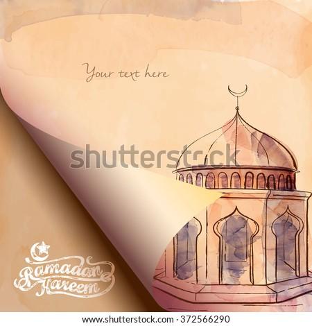 folding paper watercolor mosque sketch islamic design Ramadan Kareem greeting - Translation of text : Ramadan Kareem - May Generosity Bless you during the holy month - stock vector