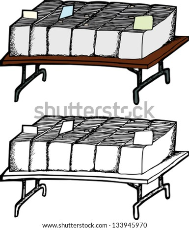 Folding table with boxes of comic books on white background