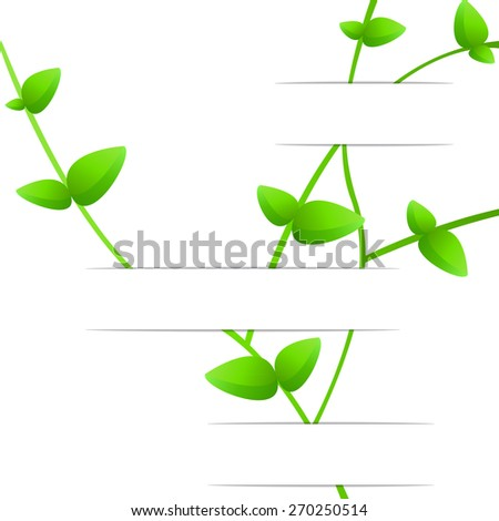 Foliage on the curved white background , 3D paper, web design, vector, eps10 - stock vector