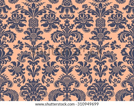 Foliage Oriental Floral Tile Damask Seamless Stock Vector 310949699