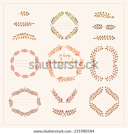 Foliage watercolor graphic frames - stock vector