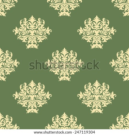 Foliate pattern in baroque style with seamless ornament of ornate beige leaves scrolls and curly tendrils on green background - stock vector