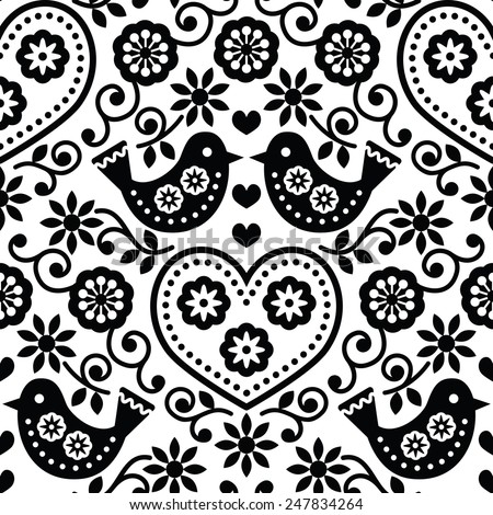 Folk art seamless monochrome pattern with flowers and birds - stock vector