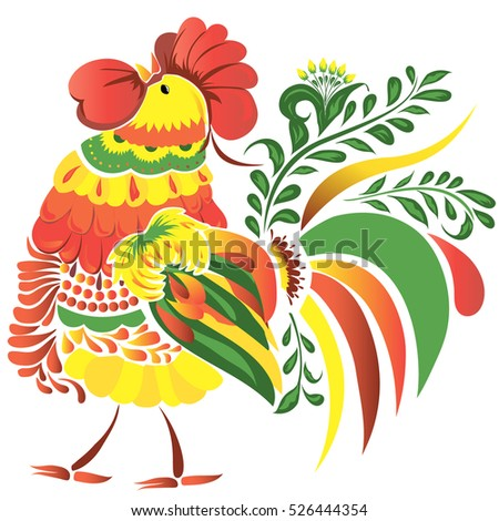 Folk bright new year rooster