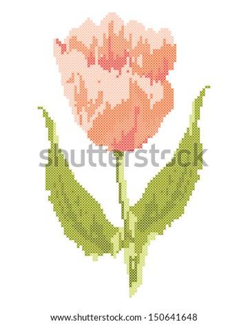 Folk embroidery tulip - stock vector
