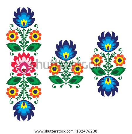 Folk embroidery with flowers - traditional polish pattern - stock vector