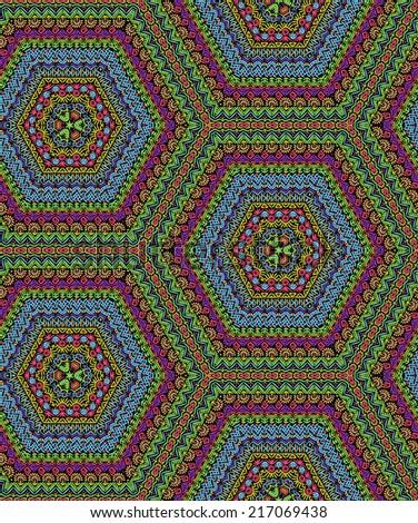 Folk hexagonal pattern - stock vector