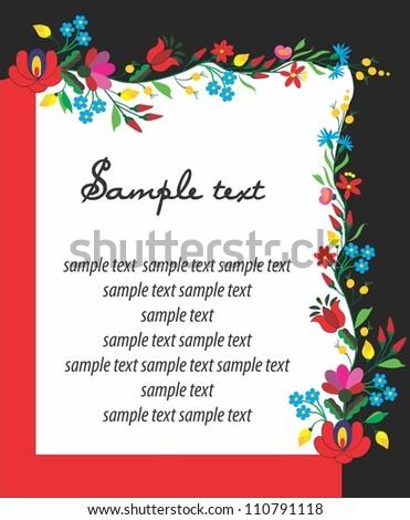 folk pattern card - stock vector