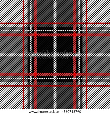 Folk plaid seamless checkered vector pattern. Retro textile collection. Grey, black with red and white stripes. Backgrounds & textures shop. - stock vector