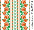 Folk style textile pattern with stylized roses - stock vector